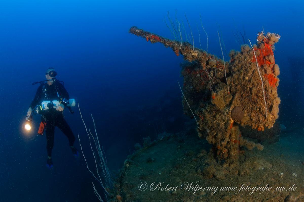 Diver next to a gun - Bikini Atoll