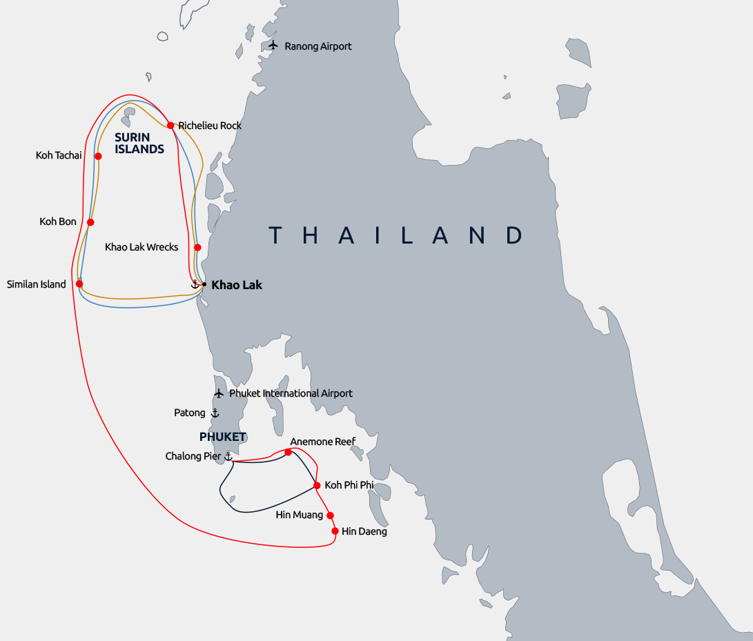 Diving itineraries in Thailand