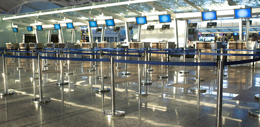 Empty airport terminals have been the recent norm