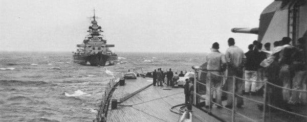 Prinz Eugen being refuelled by Bismark
