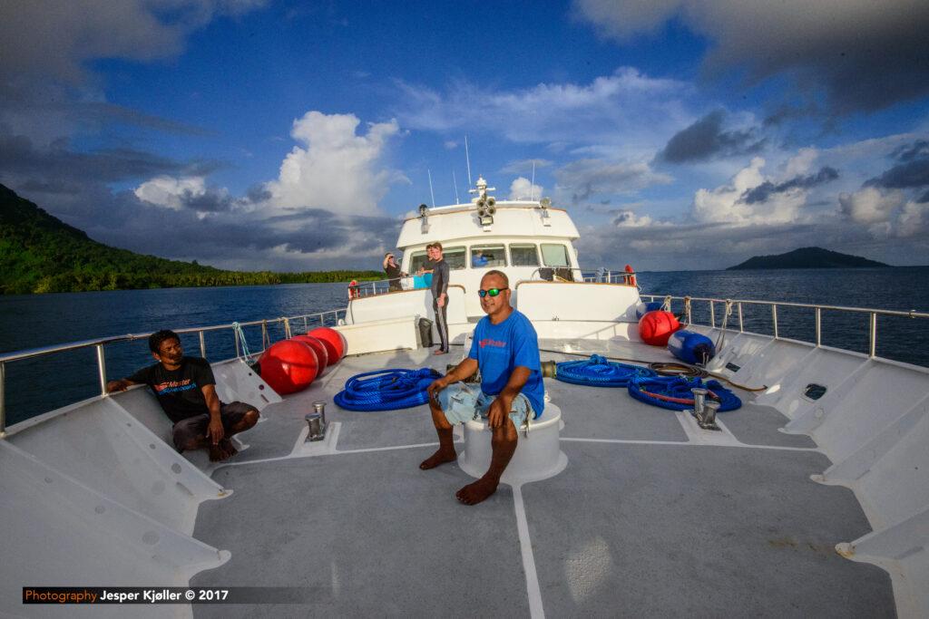 The crew on the bow of Truk Master - credit: Jesper Kjoller