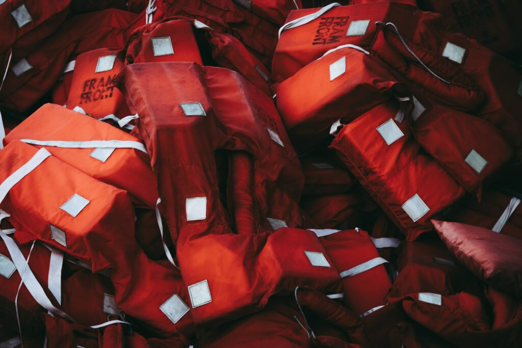 Life jackets pile used during muster drill